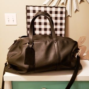 Sole Society Black Leather Duffle Bag